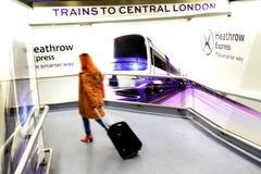 Heathrow-Eilzug - London Großbritannien Stockbild