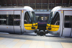 Heathrow Express Trains Detail. Heathrow Express trains close up Stock Images