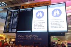 Heathrow flight information board Royalty Free Stock Photo