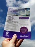 Heathrow sta cambiando Get ha compreso ed avere vostra opinione Opuscolo di consultazione di espansione dell'aeroporto immagini stock libere da diritti