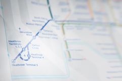 Heathrow subway map. London subway map with the heathrow airport stations in focus Royalty Free Stock Image