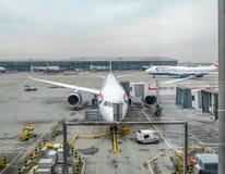 Heathrow terminal 5, London, UK September 25, 2017: Sikt från t Royaltyfria Foton