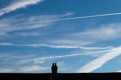 Heathrow Vapour Trails Royalty Free Stock Photography
