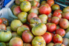 Heathy tomatoes from a market. Tomato group in a marketplace Stock Photo