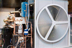 Heating and AC air conditioning unit transparent. Seen through heating and AC air conditioning unit used in a residential home or business office Royalty Free Stock Image