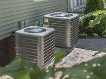 Heating and air conditioning residential HVAC units stock image