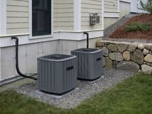 Heating and air conditioning units. Used to heat and cool a residential house stock image