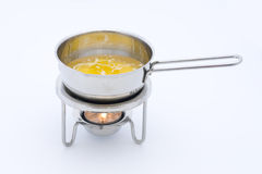 Heating Butter In Small Pan Royalty Free Stock Images