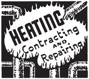 Heating Contracting. Retro Ad Art Banner vector illustration