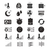 Heating and cooling, air conditioning system vector icons Stock Photography
