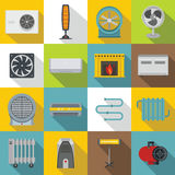 Heating cooling air icons set, flat style Royalty Free Stock Photos