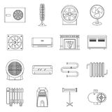 Heating cooling air icons set, outline style. Heating cooling air icons set. Outline illustration of 16 heating cooling air vector icons for web Stock Images