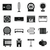 Heating cooling air icons set, simple style Stock Photography