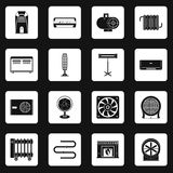 Heating cooling air icons set squares vector. Heating cooling air icons set in white squares on black background simple style vector illustration Royalty Free Stock Photography