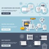 Heating And Cooling Banner. Set with conditioner flat elements isolated vector illustration Stock Image