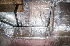 Heating and Cooling Duct. Gas Heating and Cooling Duct Closeup Photo. Ductwork or Conduits System royalty free stock photography