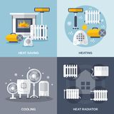 Heating And Cooling Flat. Heating and cooling design concept set with heat saving and radiator flat icons isolated vector illustration Stock Photo