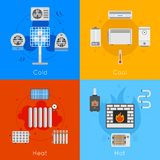 Heating and cooling flat. Icon set with coldly cool heat hot isolated vector illustration Royalty Free Stock Images