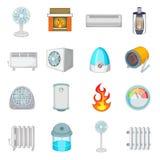 Heating cooling icons set, cartoon style Royalty Free Stock Image