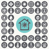 Heating and Cooling icons set. Royalty Free Stock Photos