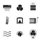 Heating and Cooling Icons. Set of isolated, black icons on a theme Heating and Cooling Royalty Free Stock Photos
