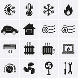 Heating and Cooling Icons Stock Photo