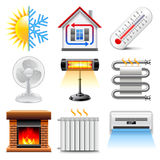 Heating and cooling icons vector set. Heating and cooling icons realistic vector set Royalty Free Stock Image
