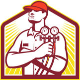 Heating and Cooling Refrigeration Technician Retro. Illustration of a heating and cooling technician or refrigeration and air conditioning mechanic holding a Royalty Free Stock Photography