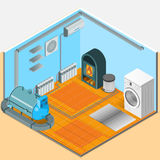 Heating Cooling System Interior Isometric Template. Of bathroom with colorful elements in flat style isolated vector illustration Royalty Free Stock Photos
