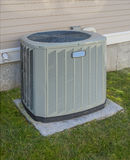 Heating and cooling unit. On the side of a residential house Royalty Free Stock Photography