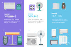Heating, Cooling and Warming Devices Banner Card Vecrtical Set. Vector. Heating, Cooling and Warming Devices Banner Card Vecrtical Set for House And Office Stock Photo