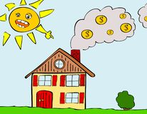 Heating costs. Illustration of house with smoking chimney Royalty Free Stock Photo
