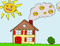 Heating costs. Illustration of house with smoking chimney Stock Images