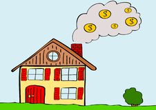 Heating costs. Illustration of house with smoking chimney Stock Photo