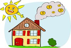 Heating costs. Illustration of house with smoking chimney Stock Photos