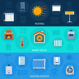 Heating Device Banner Set. Warm house system and heating devices symbols color horizontal flat banner set isolated vector illustration Stock Photography