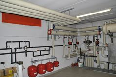 Heating distribution systems. With pipes, pumps and expansion tanks royalty free stock photo