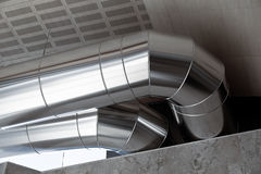 Heating Ducts. Big Heating Ducts in a Industrial Building Interior Royalty Free Stock Image