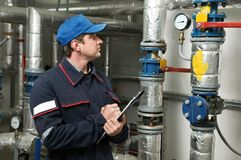 Heating engineer repairman Stock Photography