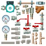 Heating equipment set. Illustration of big various heating set of pipes and other equipment on white background royalty free illustration