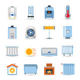 Heating Flat Color Icon Set Royalty Free Stock Images