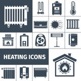 Heating Flat Icon Set. Heating devices boiler radiator fireplace warm home flat black silhouette decorative icon set isolated vector illustration Stock Image