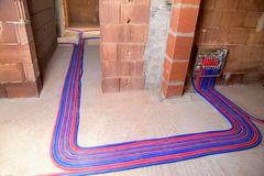 Heating floor instalation Royalty Free Stock Images