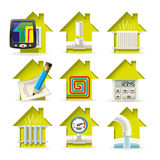 Heating Home Icons Stock Photo