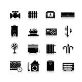 Heating Icons Black Set Royalty Free Stock Photos