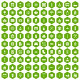 100 heating icons hexagon green. 100 heating icons set in green hexagon isolated vector illustration Stock Photos
