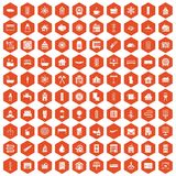 100 heating icons hexagon orange Stock Photography