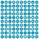 100 heating icons sapphirine violet. 100 heating icons set in sapphirine hexagon isolated vector illustration Stock Illustration