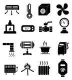 Heating icons set Stock Photos