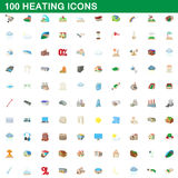 100 heating icons set, cartoon style. 100 heating icons set in cartoon style for any design vector illustration royalty free illustration